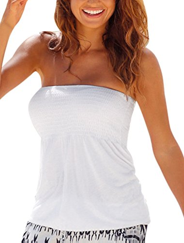 uxcell Women Smocked Upper Ruched Slim Fit Strapless Top White - Top Tube Smocked