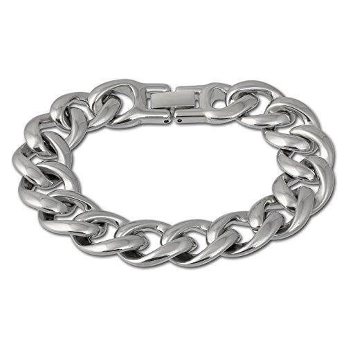Bracelet Chunky Link (Amello stainless steel chunky curb bracelet, stainless steel elements shiny, 7.08 inch, original Amello ESAX18J8)