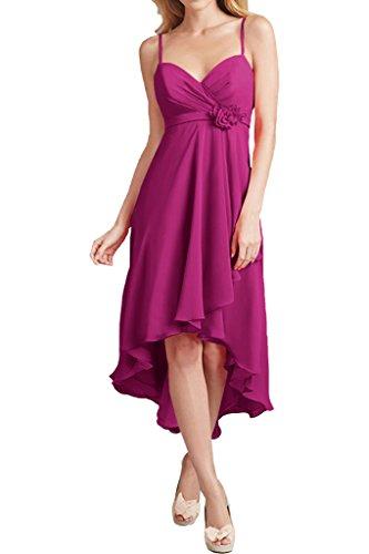 Promgirl House Damen Glamour Traeger A-Linie Chiffon Abendkleider Ballkleider Cocktail Brautjungfernkleider Lang-46 Fuchsie