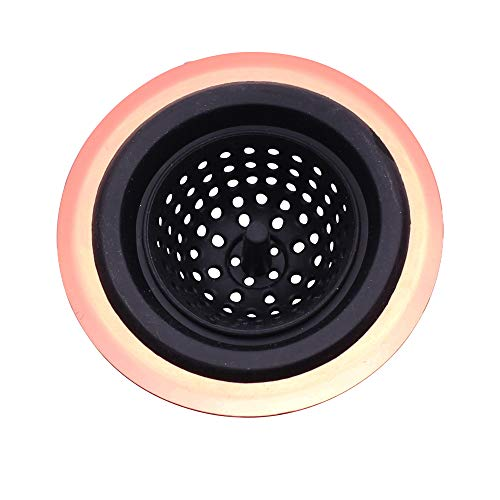 COOK with COLOR Flexible Silicone Good Grips Kitchen Sink Strainer Rose Gold Copper Large Wide 4.5' Diameter Rim/Black Silicone Durable Drain Basket Traps Food Debris and Prevents Clogs