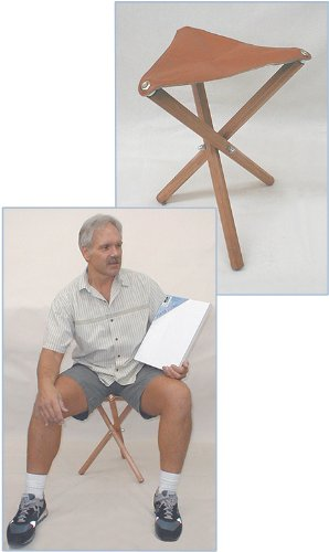 Jack Richeson 694061 Three Leg Wood Artist Folding Stool, Saddle (Wooden Folding Stool)