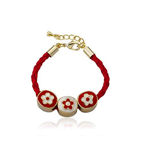 Little Miss Twin Stars Jewel Bandz 14k Gold-Plated Enamel Flower Slides On Red Braided Leather Bracelet/ (14k Enamel Slide)