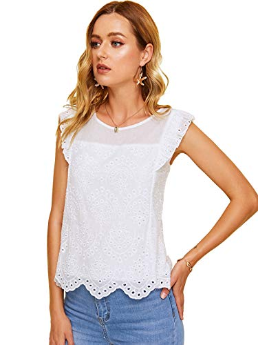 DIDK Women's Sheer Embroidery Ruffle Trim Scallop Hem Eyelet Tank Top Blouse White X-Large
