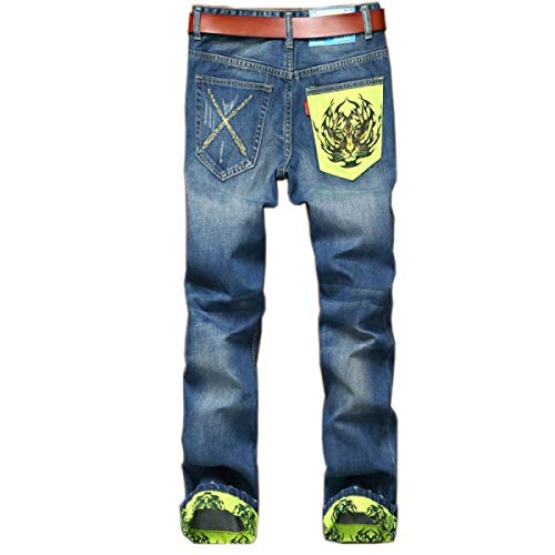 Fit Middle Jeans Blu Pants Straight Cinturino Men Senza Pantaloni Strappati Stretch Casual Ragazzo Denim In Waist Slim qx7SEwgw4C