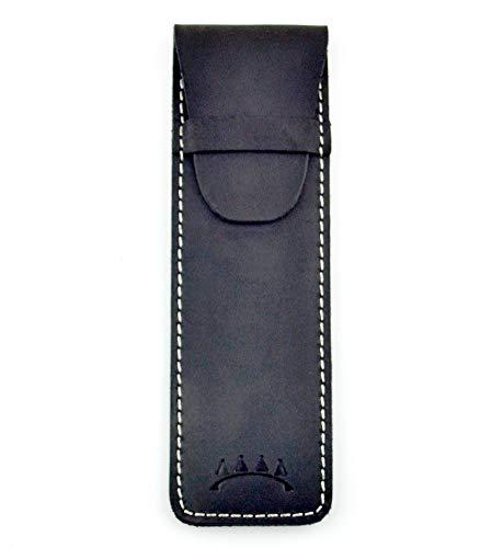 - Genuine Leather Single Pen Case with Flap Close, Top Grain Leather (Black)