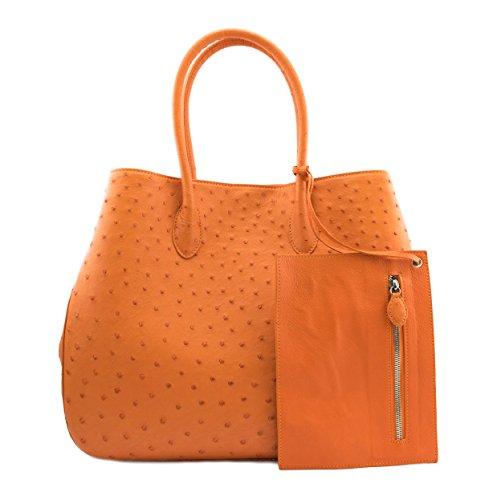 Alexandra Top Handle Genuine Handmade Ostrich Skin Pattern Large Leather Handbag For Cell phones, Keys Cards & Gifts For Women (Orange)