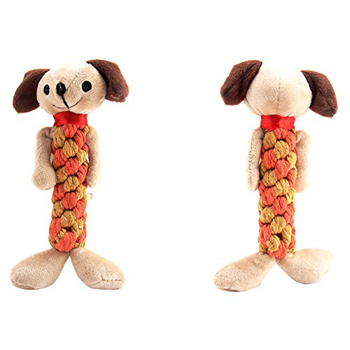 HUN Huangou Pet Dog Rope Teeth Chew Animal Shaped Squeaky Sound Stuffed Plush Toys Colorful Design (D, 20\9cm)