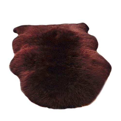 ALLNEO 1 Pelt Genuine Sheepskin Rug Soft Fur Premium Throw Rug Australian Sheepskin Rug for Home Decor Sofa Cover Doormat for Bedside Carpet Brown Color 2.5 X 3.5 FT
