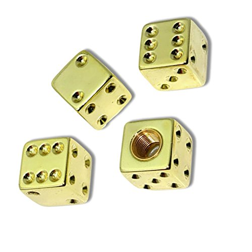 "(4 Count) Cool & Custom ""Cube Dice"" Tire Wheel Valve Stem Cap Seal Made of Metal {Gold Color Metal Internal Threads for Easy Application Rust Proof Fits For Most Cars}"