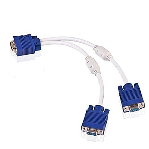 StyleZ VGA 15 Pin PC SVGA Male to 2 Double Female Monitor Y Splitter Adapter Cable - Svga Monitor Splitter