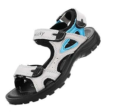 DADAWEN Boys Girls Leather Outdoor Hiking Sandals Summer Beach Adjustable Strap Sport Sandal Beige Size: 1 M US Little Kid