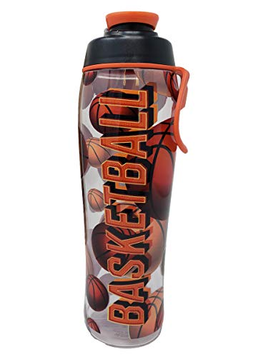 BPA Free Water Bottle for Kids and Adults - Sports Designs w/Personalized Options for Coach, Girl, or Boy - Add Custom Name, Number, or Sport - USA Made (Basketball, 30 oz.)