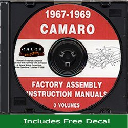 - 1967 1968 1969 Chevy Camaro Assembly Manual CD and Racing Decal