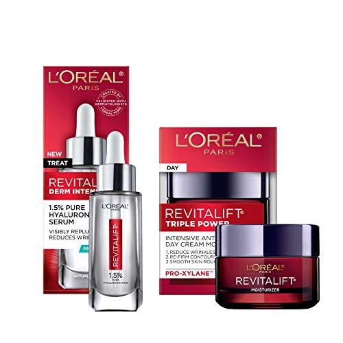 41Zi9xgD68L - L'Oreal Paris Skin Care Revitalift Hyaluronic Acid Facial Serum and Triple Power Face Moisturizer Anti-Aging Skin Care Set, 1 Kit