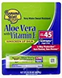 (Pack of 10) Banana Boat Aloe Vera with Vitamin E Sunscreen Lip Balm, SPF 45 .15 oz (4.25 g)