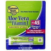 (Pack of 10) Banana Boat Aloe Vera with Vitamin E Sunscreen Lip Balm, SPF 45 .15 oz (4.25 g)
