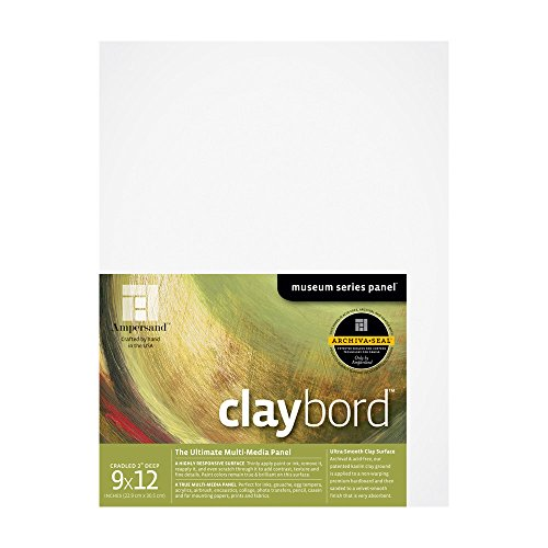 Ampersand Museum Series Claybord Panels for Paint and Ink, 2 Inch Depth Cradled, 9X12 Inch (CBSWC912) by Ampersand