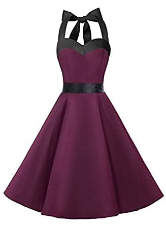 Dresstells Vintage 1950s Rockabilly Polka Dots Audrey Dress Retro Cocktail Dress Burgundy Black XS