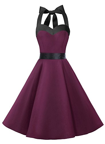 DRESSTELLS Vintage 1950s Rockabilly Polka Dots Audrey Dress Retro Cocktail Dress Burgundy Black M (Corset Dress)
