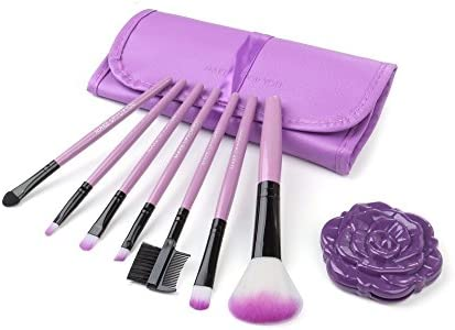 [9Type Set] Eye Makeup Up Brushes 7Pack & Case & Rose Compact Mirror Purple