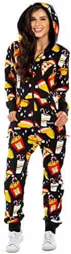 6398a0f21 Tipsy Elves Women's Black Festive Fast Food Adult Jumpsuit - Christmas  Onesie Pajamas