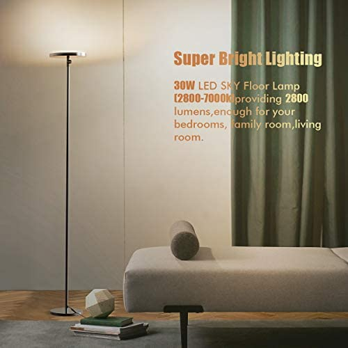 Floor Lamp 30w Sky Super Bright 2800k 7000k Torchiere Floor Floor Lamp With Timer 2800lumens Led Floor Lamp With Stepless Dimmer 4 Color Temperatures Standing Lamp For Living Room Bedroom Office Home Improvement