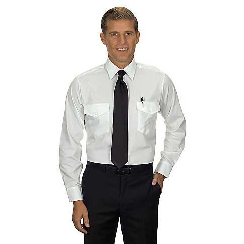 Van Heusen Men's Pilot Dress Shirt Long Aviator, White, 19.5