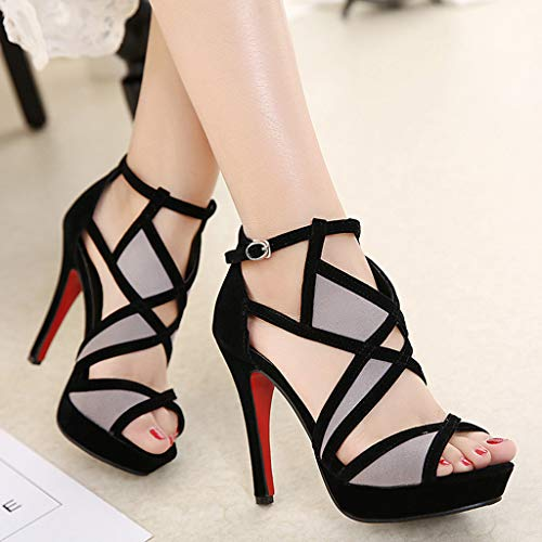 Cut Out Ankle Boots Peep Toe Platform Strappy High Heel Party Prom Pumps Sandals Women (Black, US:6.0) by Kinrui Women Shoes (Image #1)