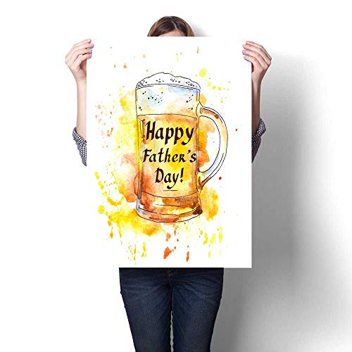 Anshesix Canvas Wall Art for Bedroom Home Decorations Beer Glass and Note for Fathers Day Watercolor for Home Decoration No Frame 16