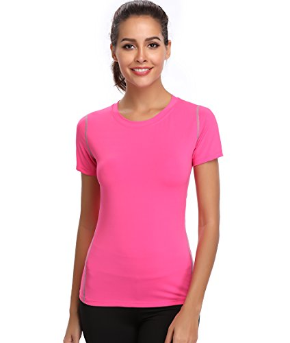 (Joyshaper Womens Compression Workout Athletic Shirt Short Sleeve Moisture Wicking T Shirts Rose Pink)