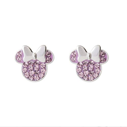 Disney Minnie Mouse Birthstone Jewelry for Women, Sterling Silver Pave Crystal Stud Earrings (More Colors Available) Mickey's 90th Anniversary, February