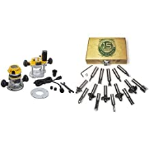 DEWALT DW618PK 12 AMP 2-1/4 HP Plunge- and Fixed-Base Variable-Speed Router Kit with 1/4-Inch and 1/2-Inch Collets & MLCS 8377 15-Piece Router Bit Set with Carbide-Tipped 1/2-Inch Shanks