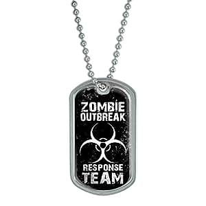 Zombie Outbreak Response Team White Distressed - Military Dog Tag Luggage Keychain
