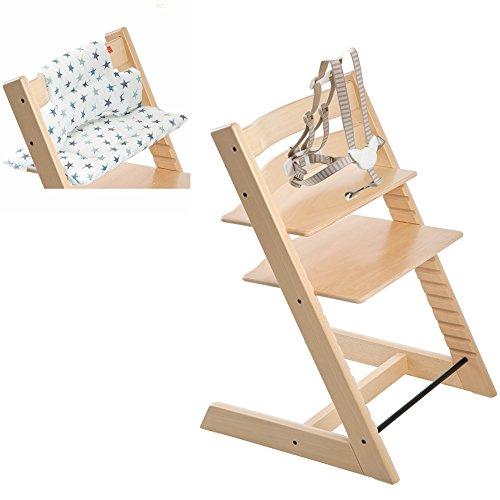 Stokke Tripp Trapp High Chair with Aqua Star Cushion