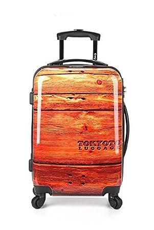42fc3f94eb7556 Tokyoto Ryanair / Easyjet Hand Luggage / Cabin Suitcase Trolley, Woody  (brown) - Koffertrolley Handgepäck 55 cm WOODY: Amazon.co.uk: Luggage