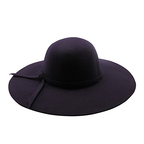 Women Fedora Hat Trilby Floppy Wide Brim Hat Wool Trendy Ladies (Purple)