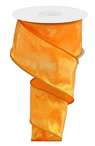 Iridescent Dupioni Wired Edge Ribbon, 10 Yards (Orange, 2.5