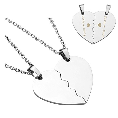 ❤VALENTINES GIFTS❤ PiercingJ 2PCS Personalized Custom Engraved Stainless Steel Matching Heart Puzzle Pendant His and Hers Necklace Couple Necklaces for Men Women 24
