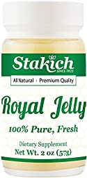 Stakich FRESH ROYAL JELLY - 100% Pure, All Natural, Highest Quality - No Additives/Flavors/Preservatives Added - 2 oz (57g)