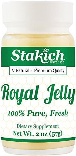 Stakich Fresh Royal Jelly - 100% Pure, All Natural, Highest Quality - No Additives/Flavors/Preservatives Added - 2 oz (67g) (Pure Fresh Royal Jelly 100 Natural Organic)