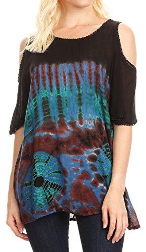 (Sakkas 18789 - Luz Womens Cold Shoulder Bohemian Ethnic Style Blouse Top Tie Dye Flare - Blue - OSP)