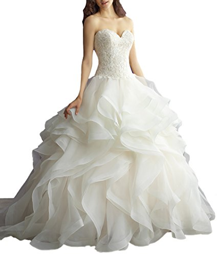 AngelCity Brides Sweetheart Wedding Dresses Lace Ruffled Bridal (Ruffled Wedding Gown)