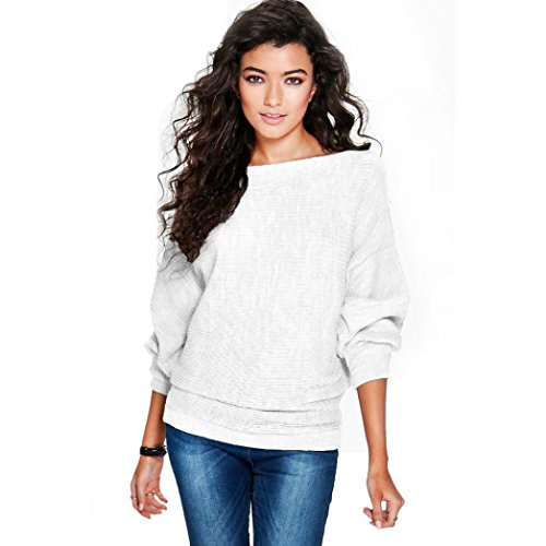 Perman Women Batwing Sleeve Knitted Pullover Loose Sweater Jumper Tops Knitwear (XL, White)