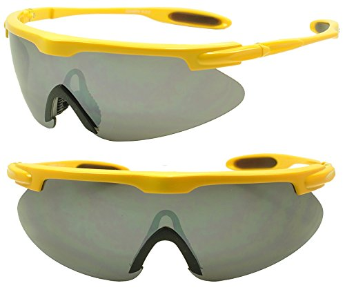 Run Dmc Costumes (Oversize Wrap Around Sport Sunglasses w/ Anti-Reflective Full Shield Lens (Yellow, Black))