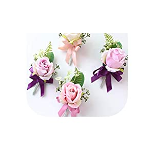 Red Best Man Corsage for Groom Groomsman Silk Rose Flower Wedding Suit Boutonnieres Accessories Pin Brooch Decoration 60