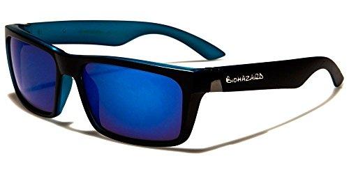 Black Blue Biohazard Rectangle Vintage Two-Tone Shades Men'S Designer - Italian Sunglasses Independent