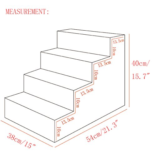 Toparchery 4 Steps Dog Stairs to get on High Bed, Warm Pet Animal Ramp Ladder Berber Fleece Cover Cats Dogs by Toparchery (Image #2)