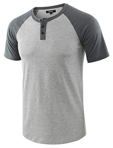 Estepoba Men's Casual Vintage Short Raglan Sleeve Baseball Henley Jersey Shirts H.Gray/S.Green XXL