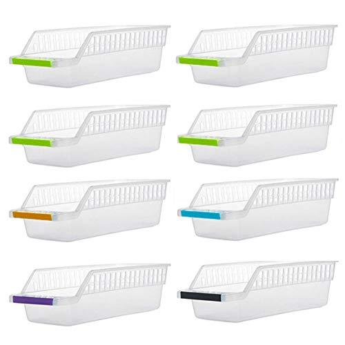 INOVERA (LABEL) Plastic Fridge Space Saver Food Storage Organizer Basket Rack, Multi-Color – Pack of 8, Made in India