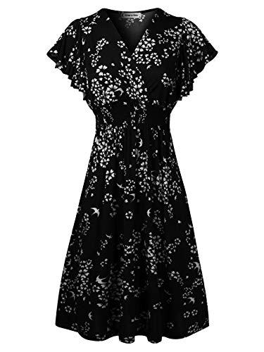 Design by Olivia Women's Deep V Neck Princess Seamed Casual Flared Midi Flower Print Dress Black M